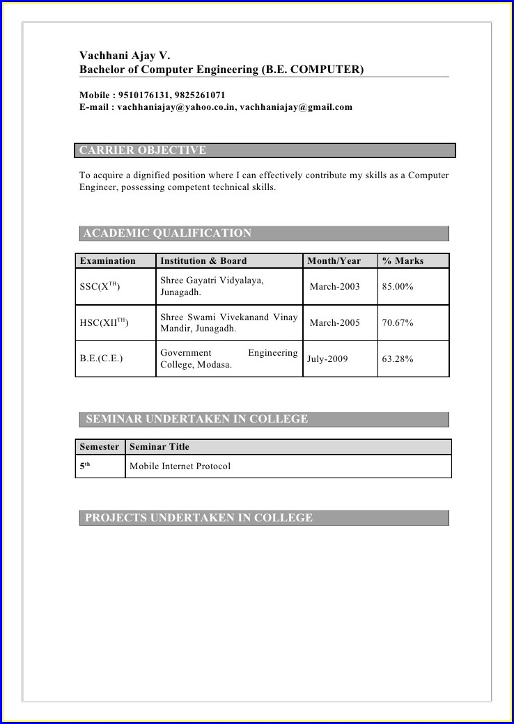 Sample Resume For Freshers Engineers Computer Science