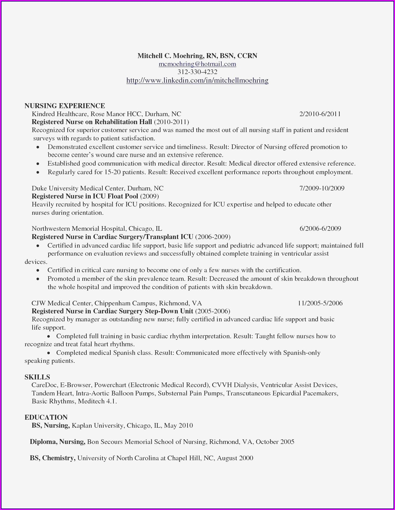 Sample Resume For Icu Registered Nurse