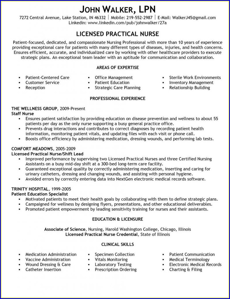 Sample Resume For Lpn With No Experience