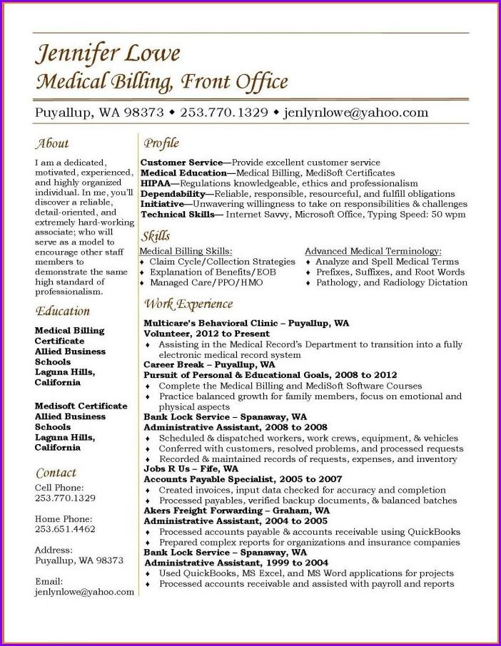 Sample Resume For Medical Biller