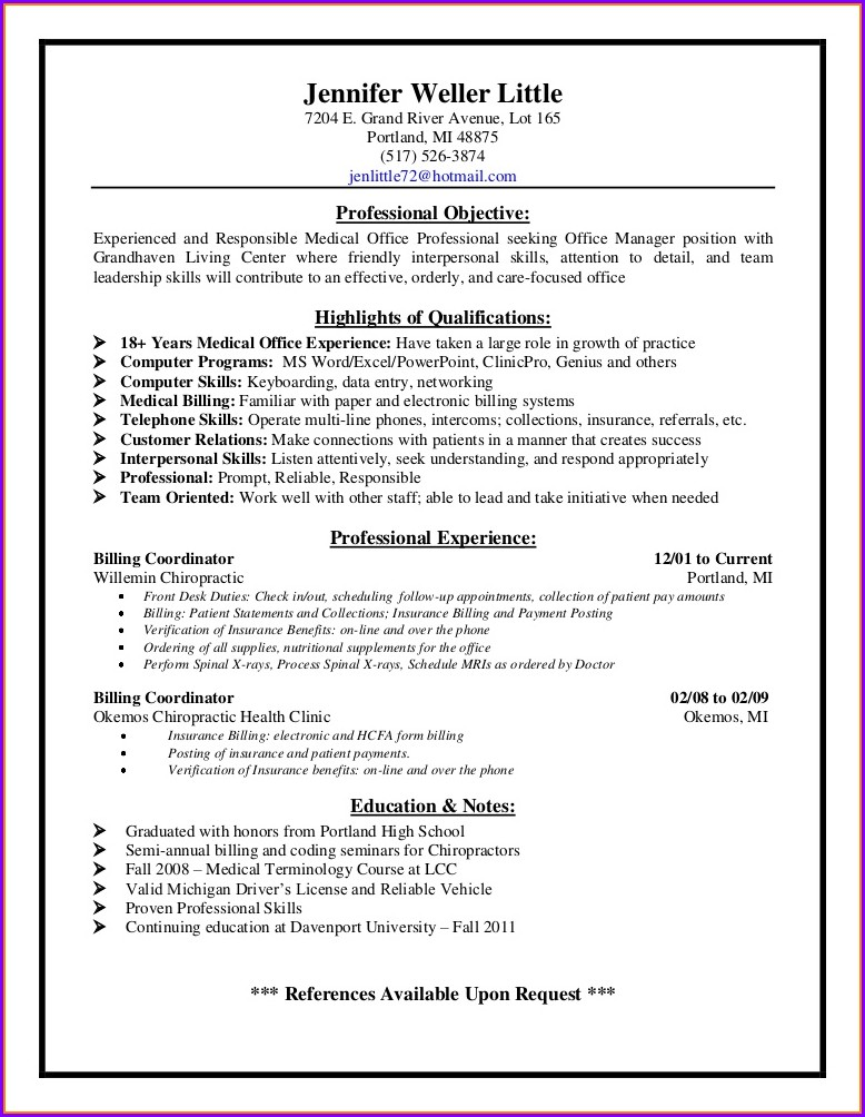 Sample Resume For Medical Billing Clerk
