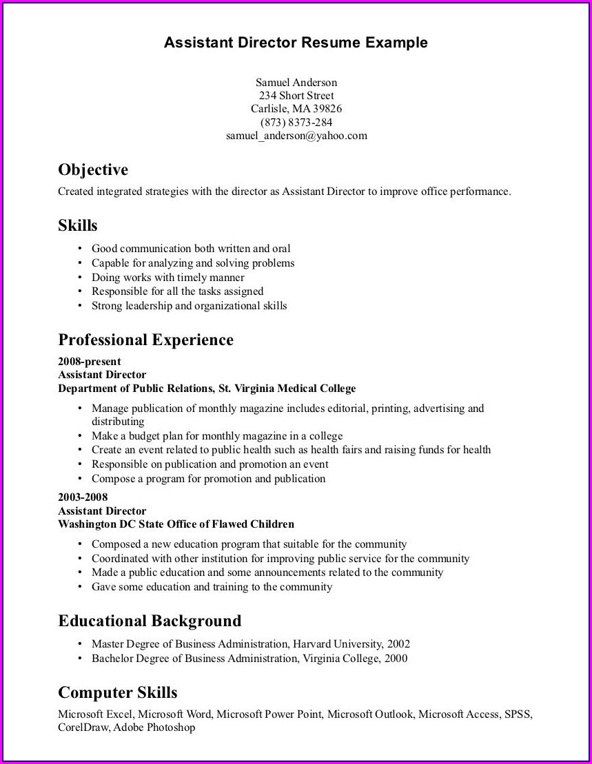 Sample Resume For Medical Office Administration