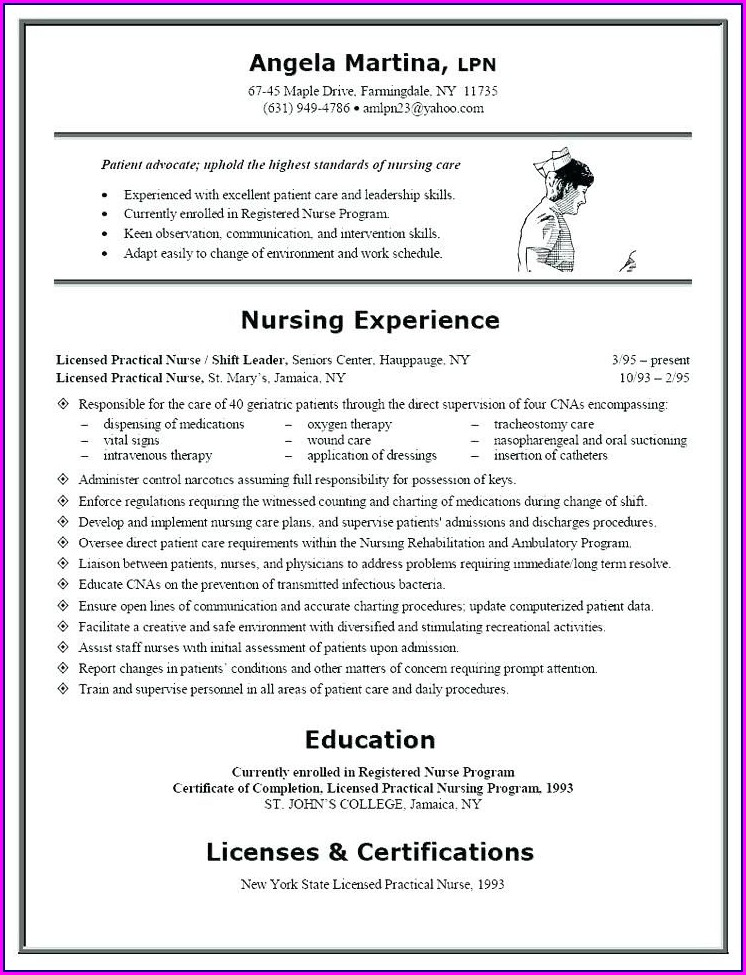 Sample Resume For Nurses With Experience In Word