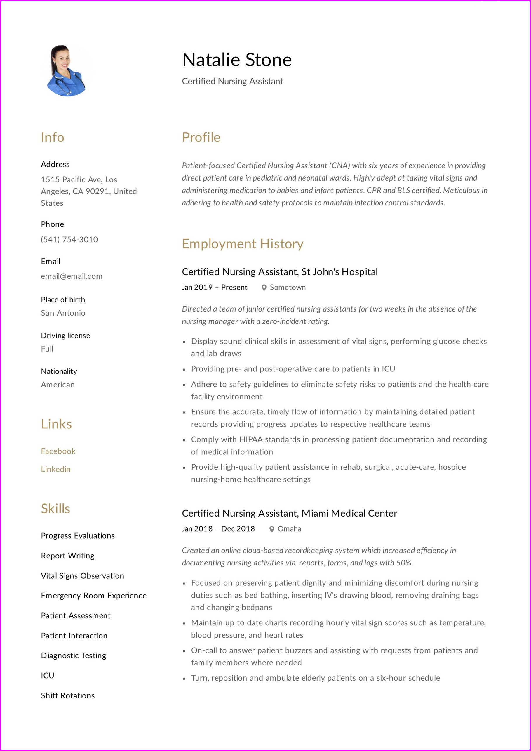 Sample Resume For Nursing Aide Without Experience