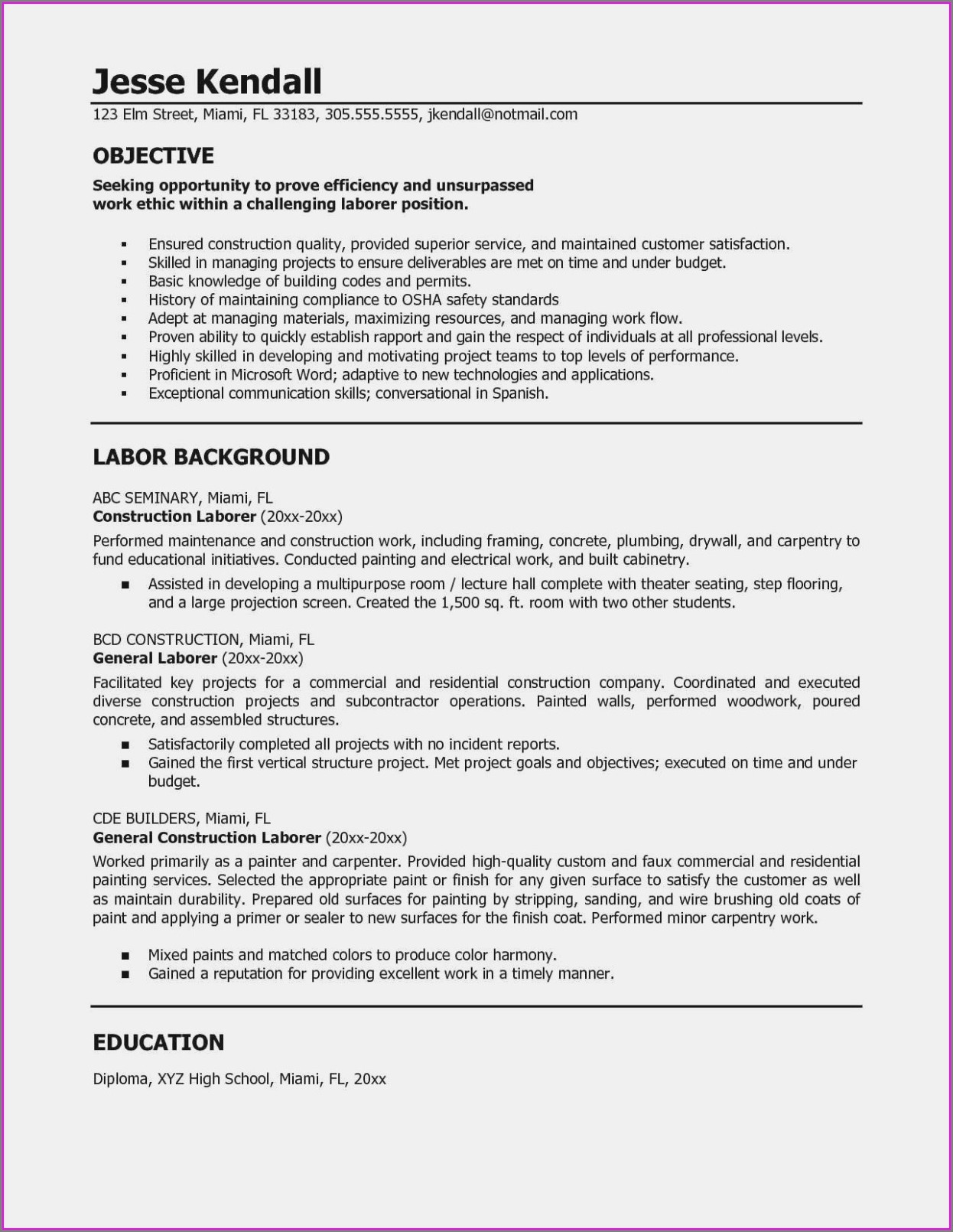 Sample Resume For Owner Operator Truck Driver