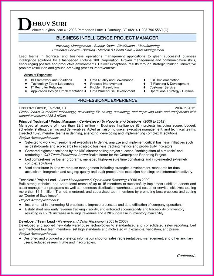 Sample Resume For Project Manager In Telecom