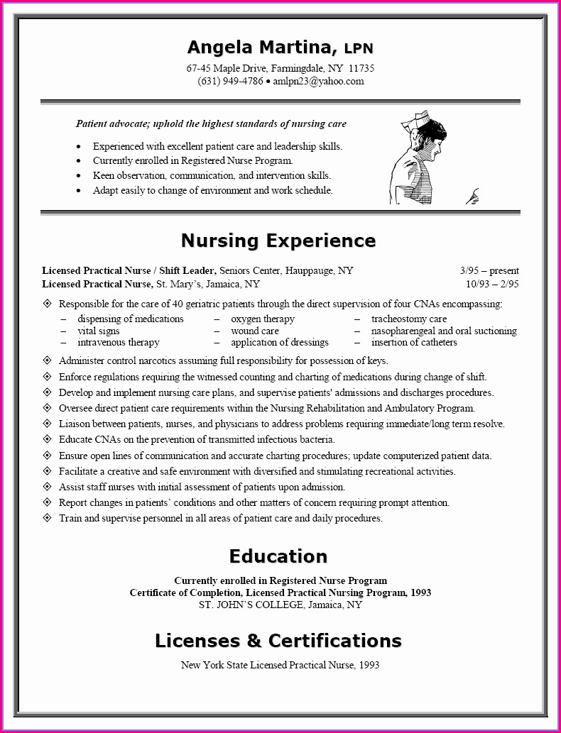 Sample Resume For Rn Nurse