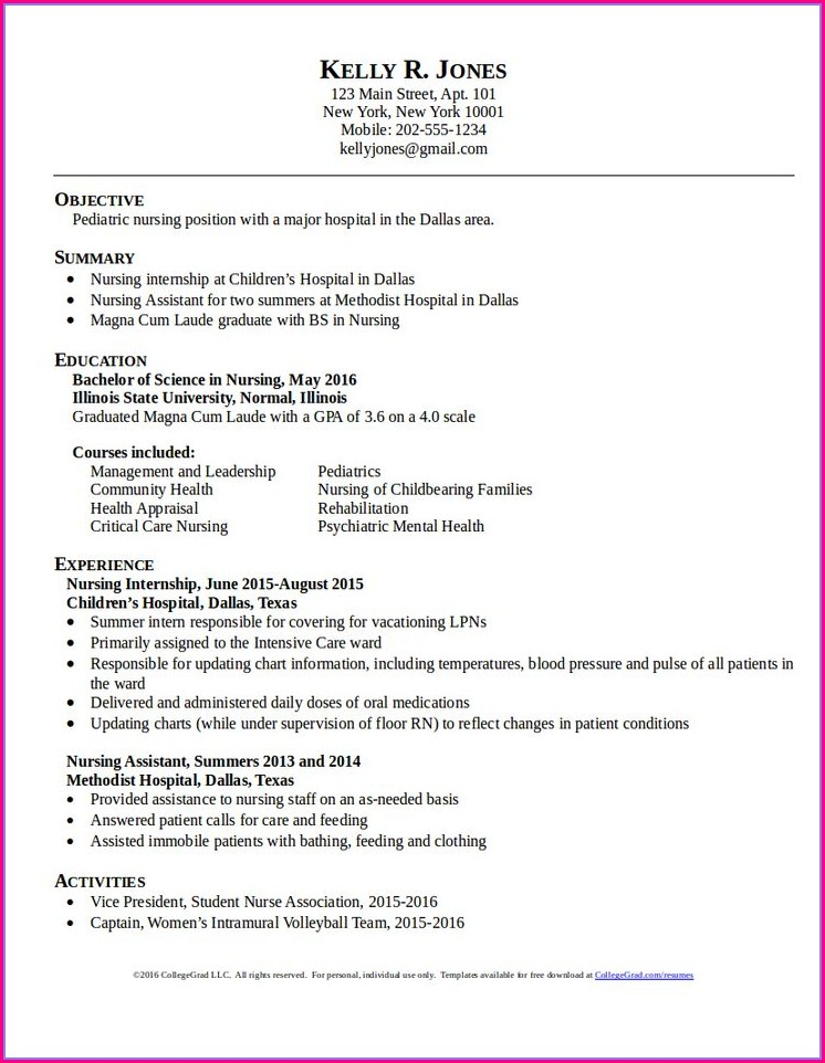 Sample Resume For Rn Position