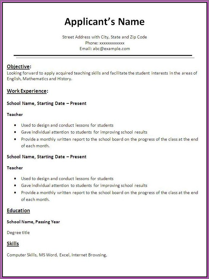 Sample Resume For Teachers Template