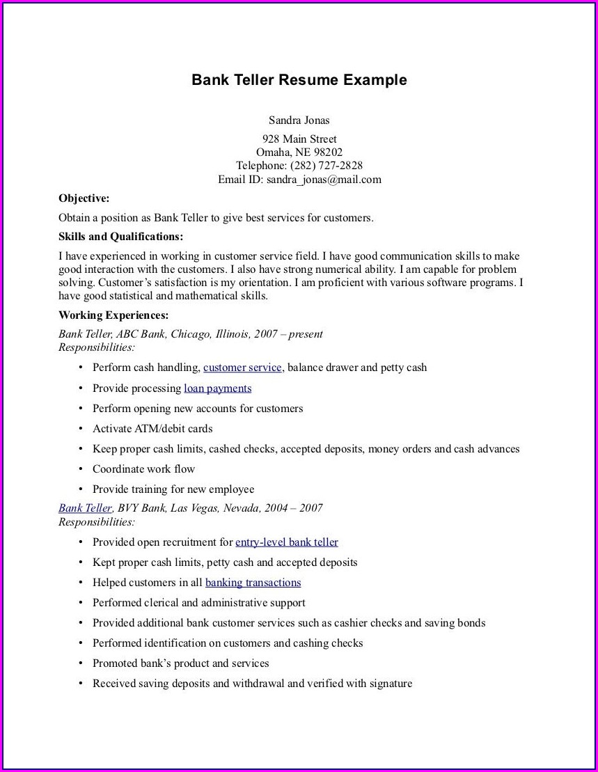 Sample Resume For Teller Manager Position