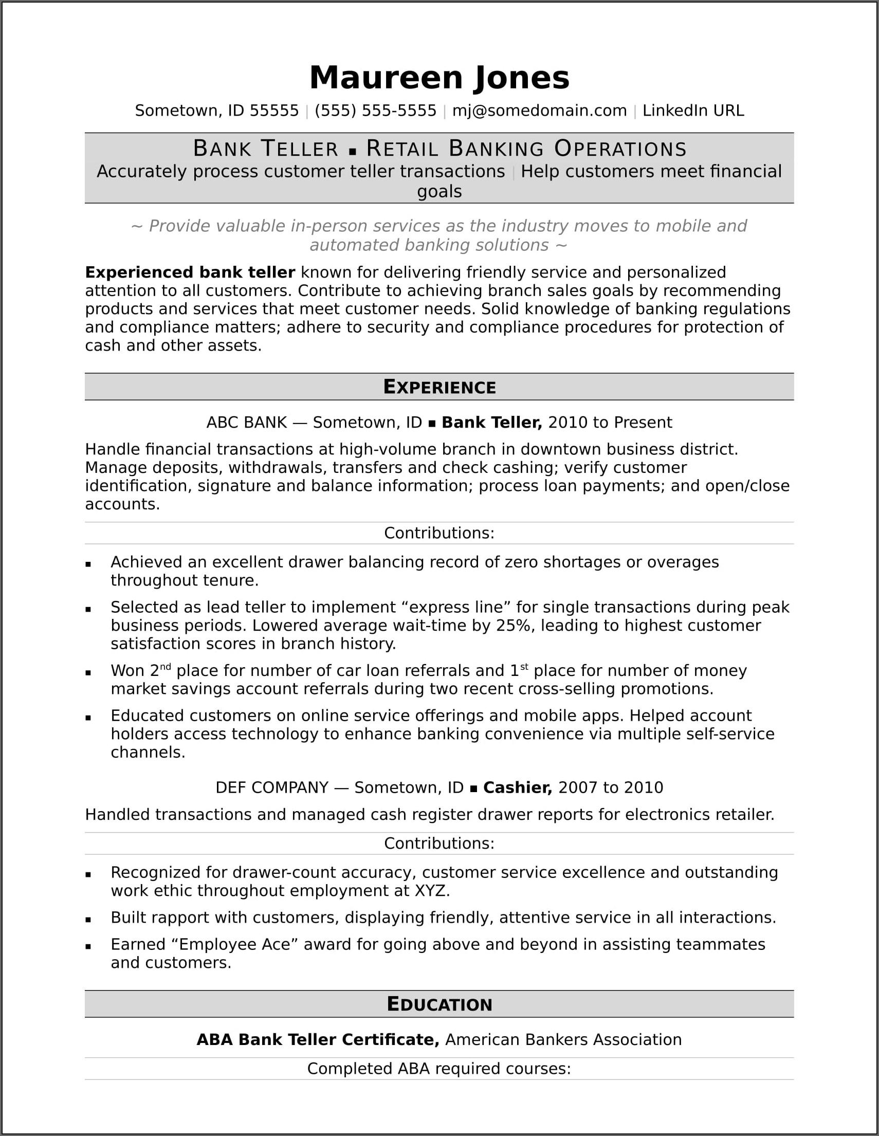 Sample Resume For Teller Position In Banks