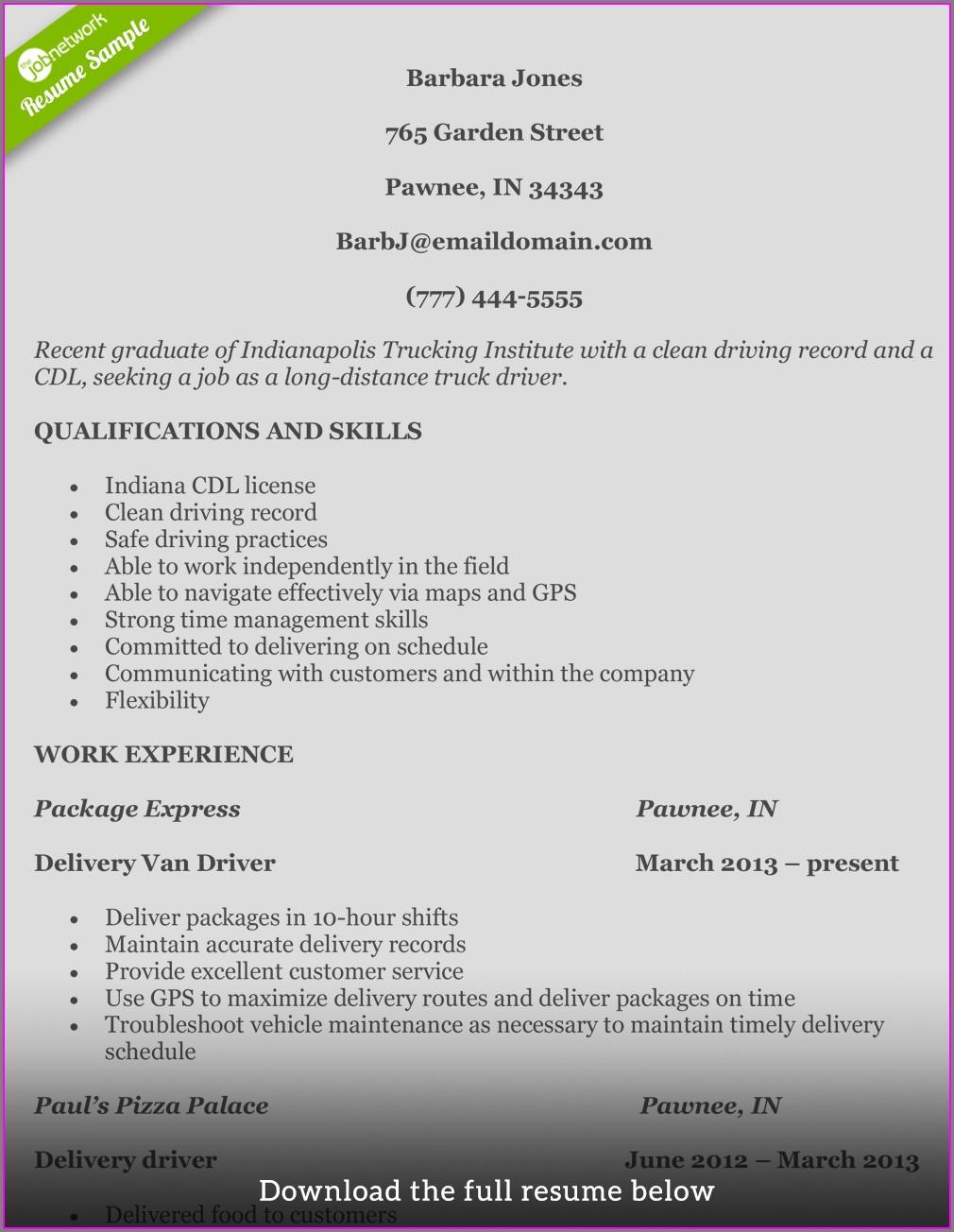 Sample Resume For Truck Driver Australia