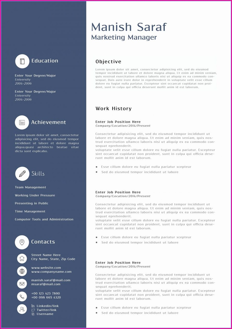 Sample Resume Format For Sales Executive