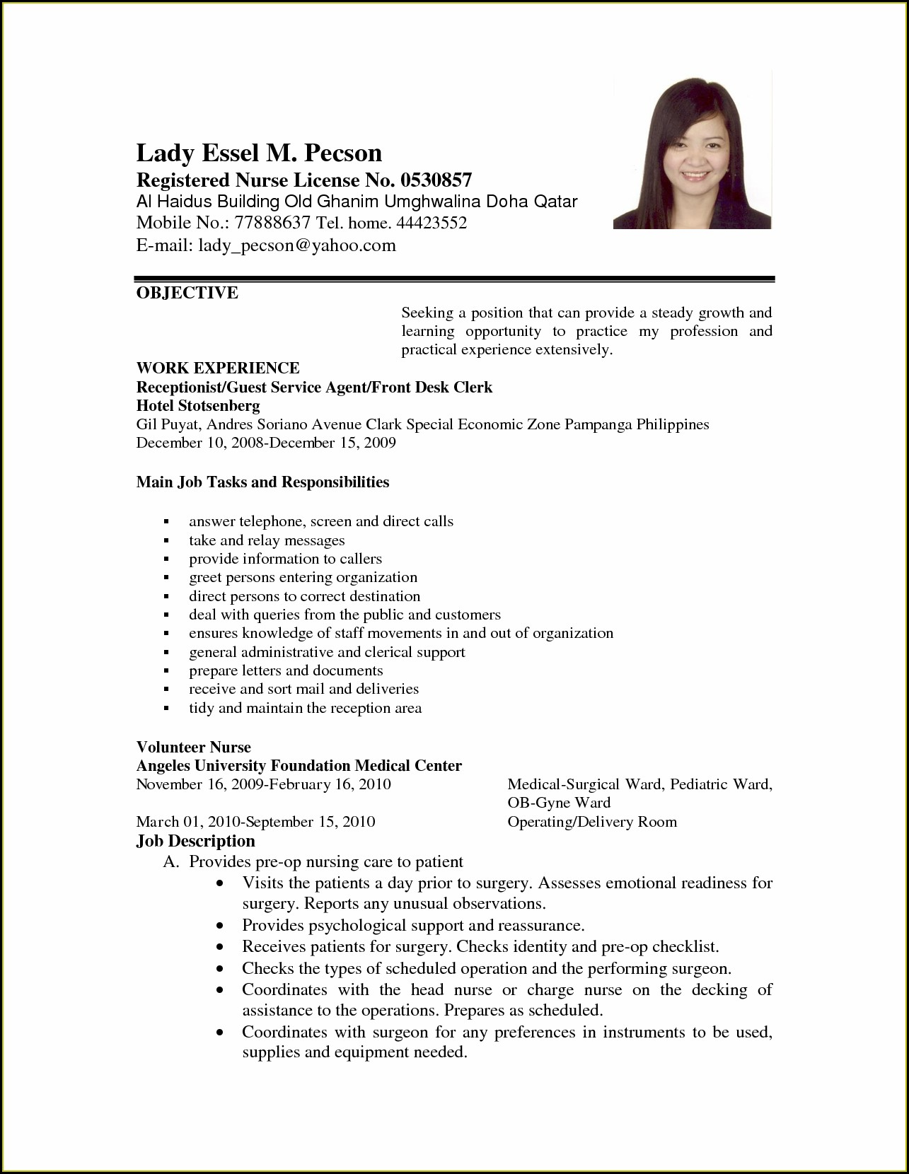 Sample Resume Newly Registered Nurse Philippines