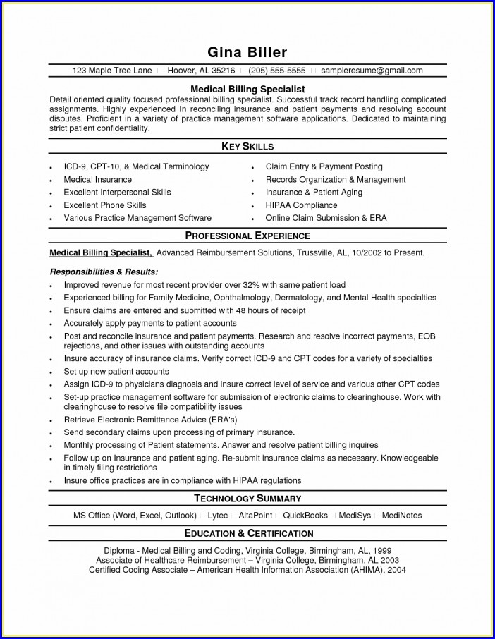 Sample Resume Objectives For Medical Coding