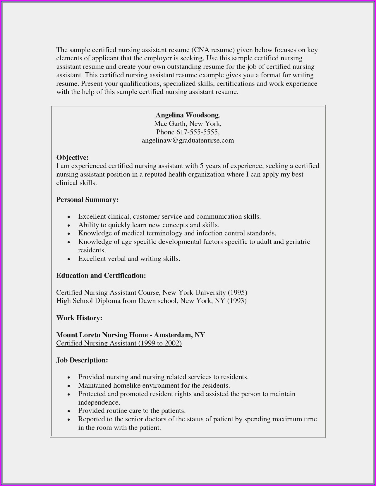 Sample Resume Objectives For Nursing Aide