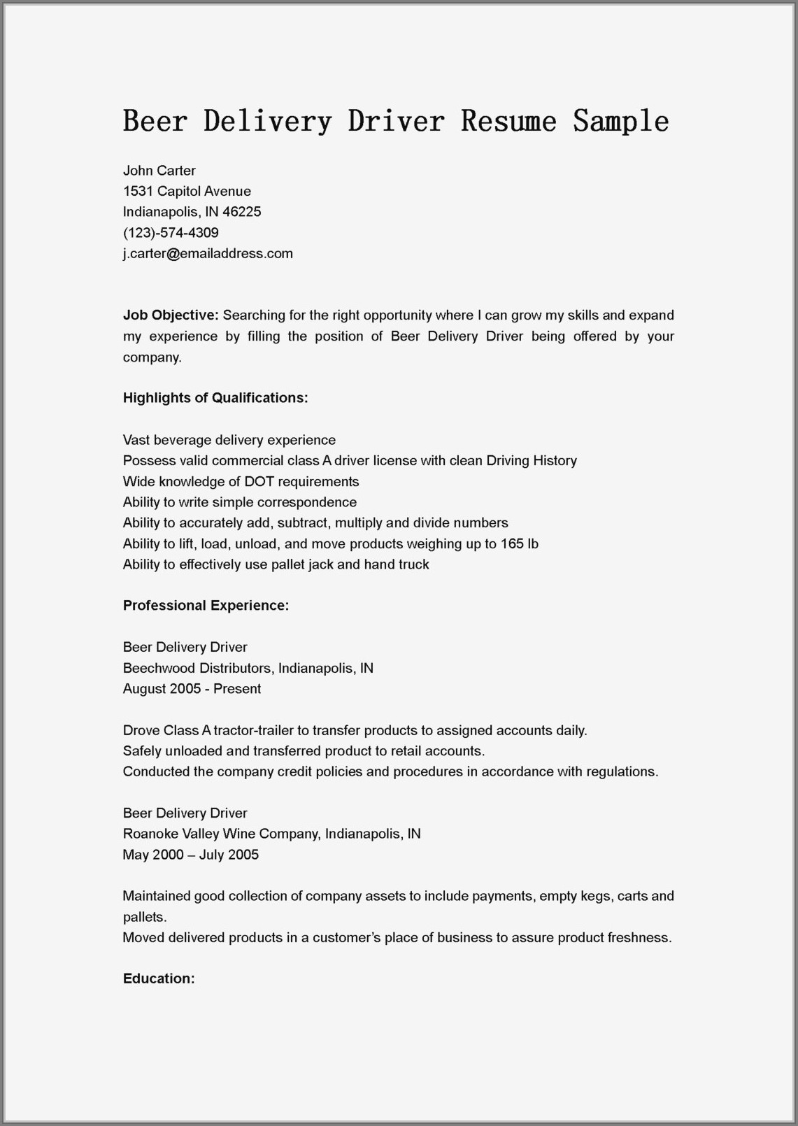 Sample Resume Objectives For Truck Drivers
