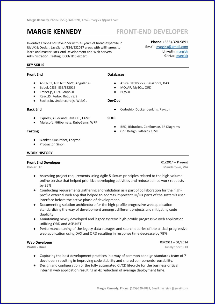 Sample Resume Of Aspnet Developer
