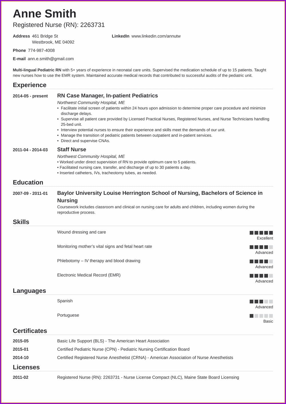 Sample Resumes For Registered Nurses