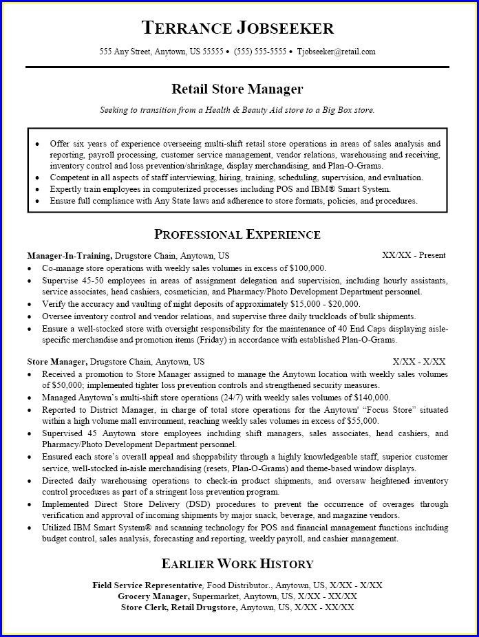 Sample Resumes For Sales Manager