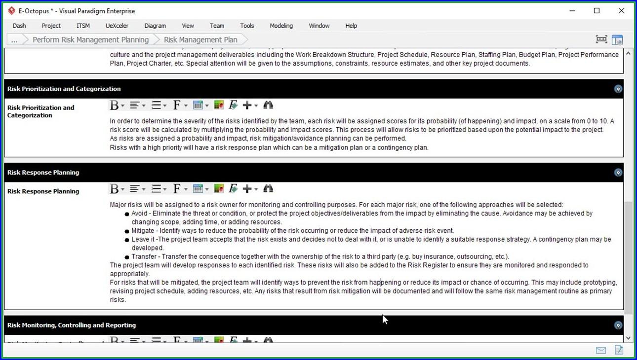 Sample Risk Management Template Excel