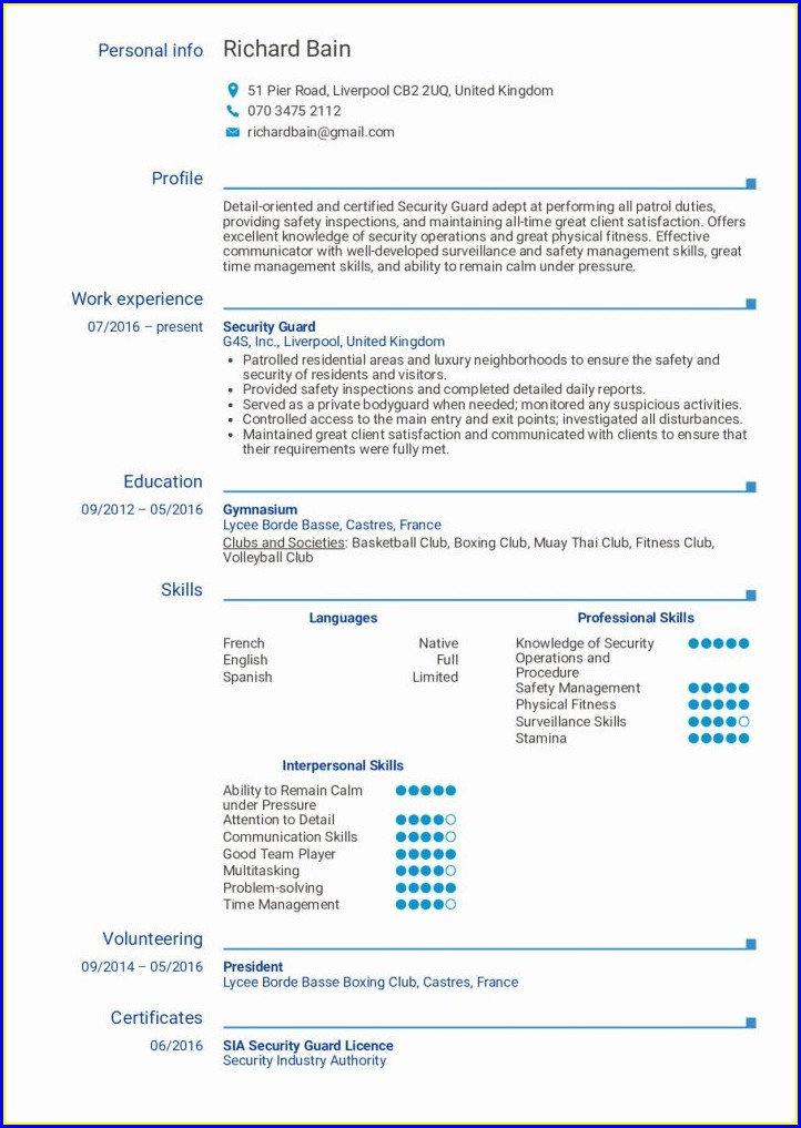 Sample Security Guard Resume Objective