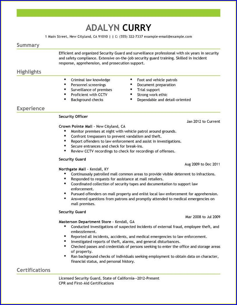 Sample Security Officer Resume Australia