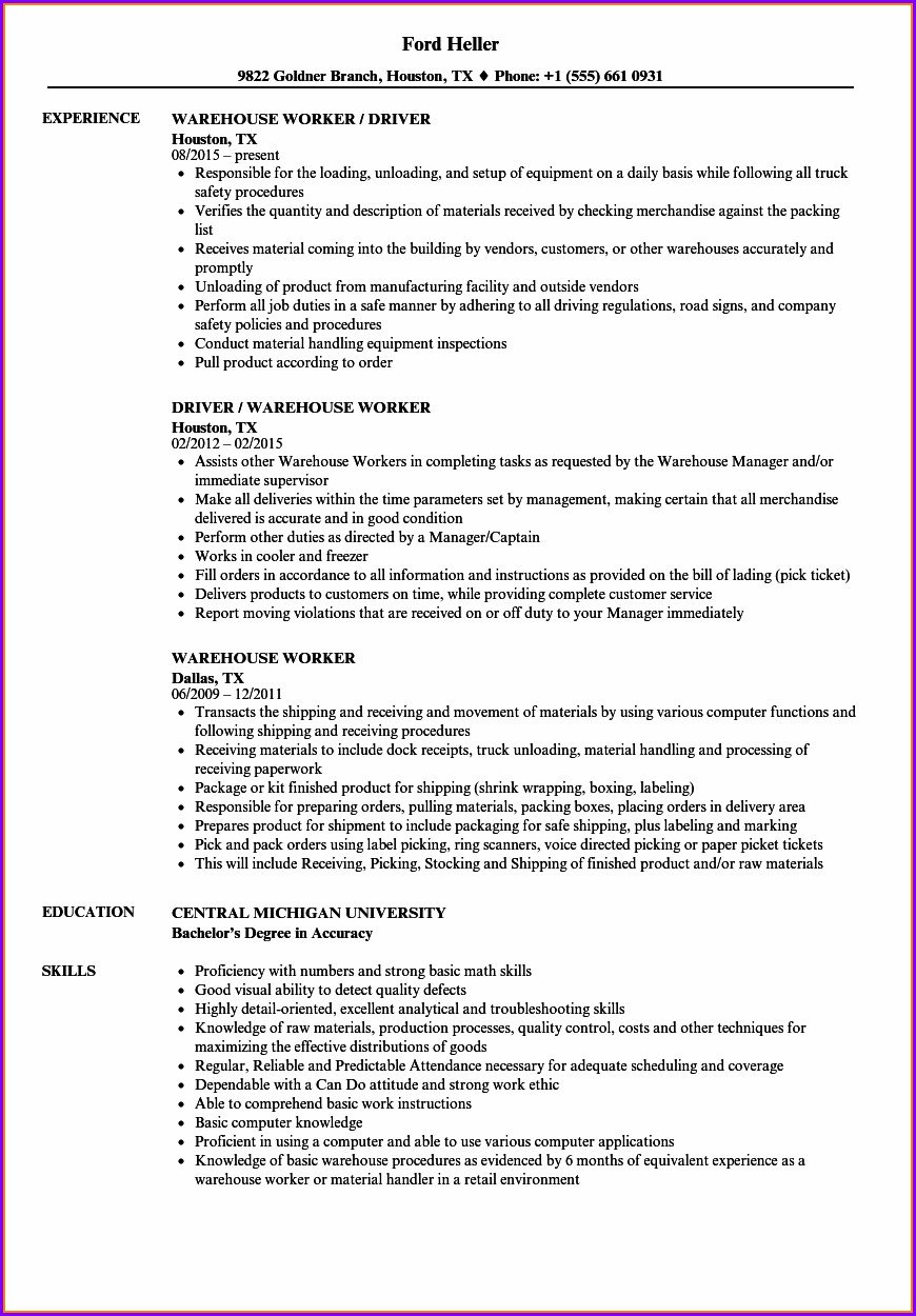 Sample Skills Resume Warehouse Worker