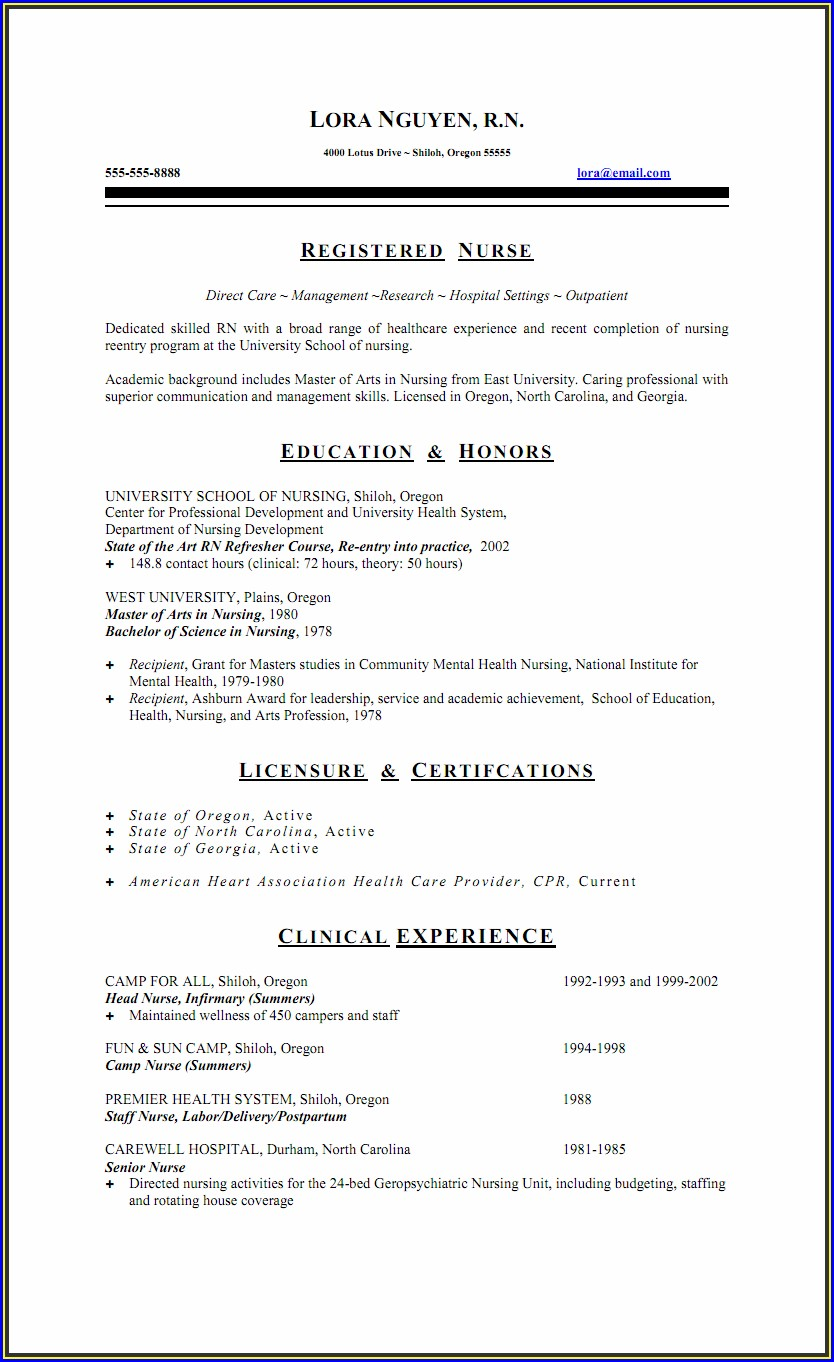 Sample Staff Nurse Job Resume