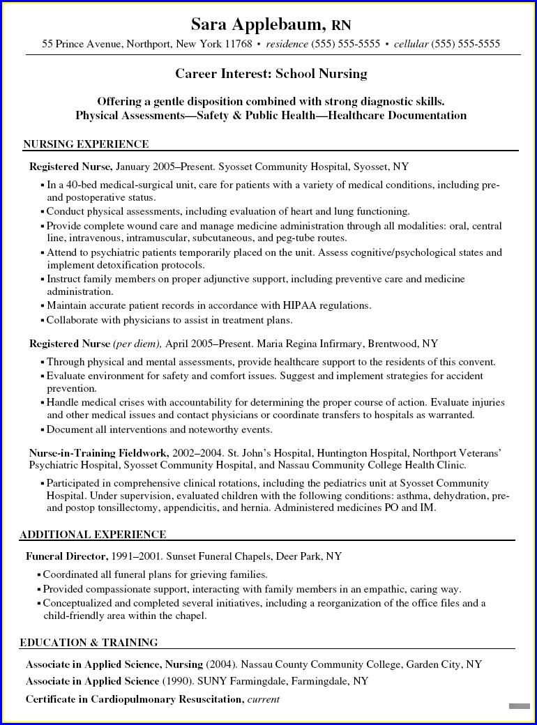 Sample Staff Nurse Resume