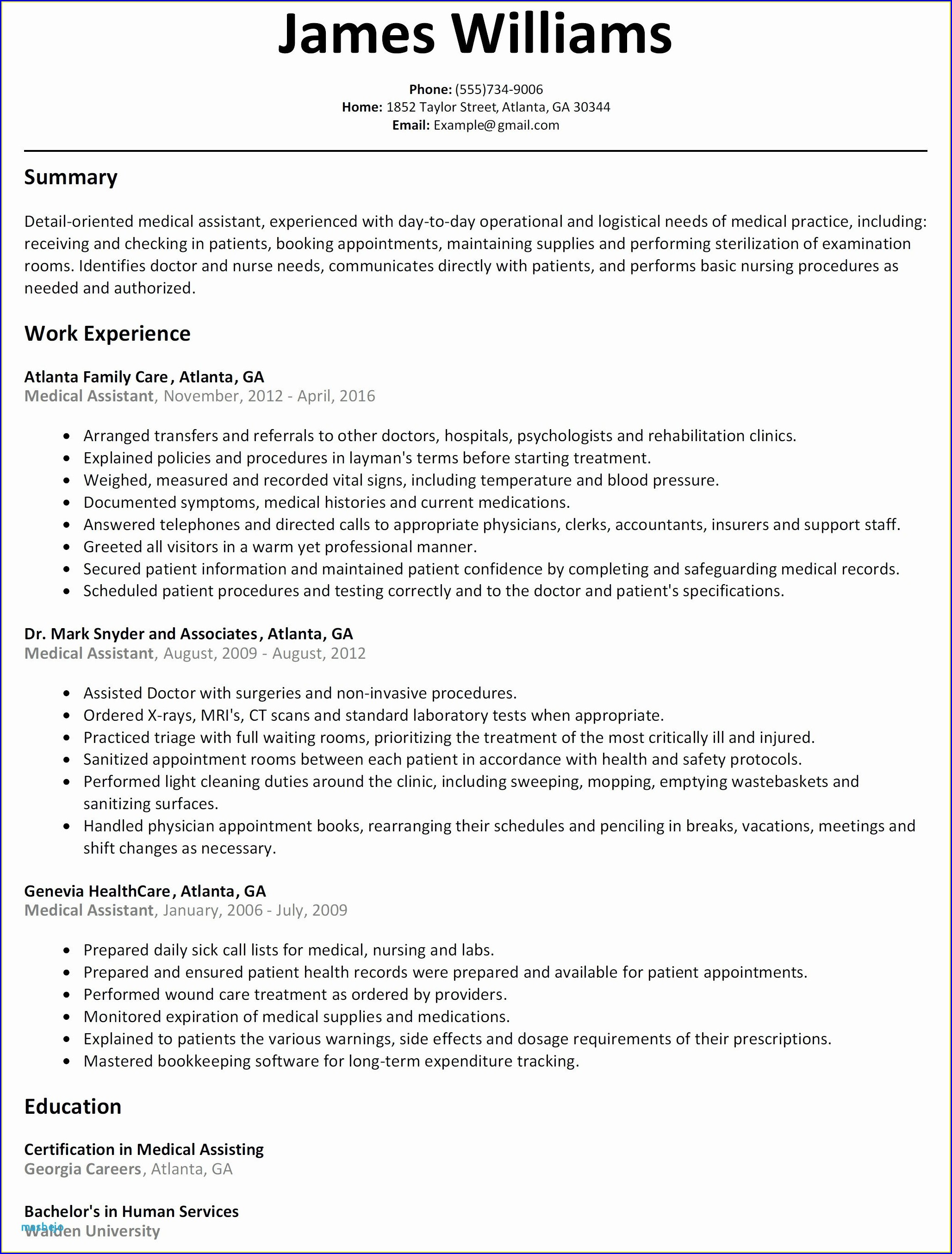 Samples Of Certified Medical Assistant Resumes