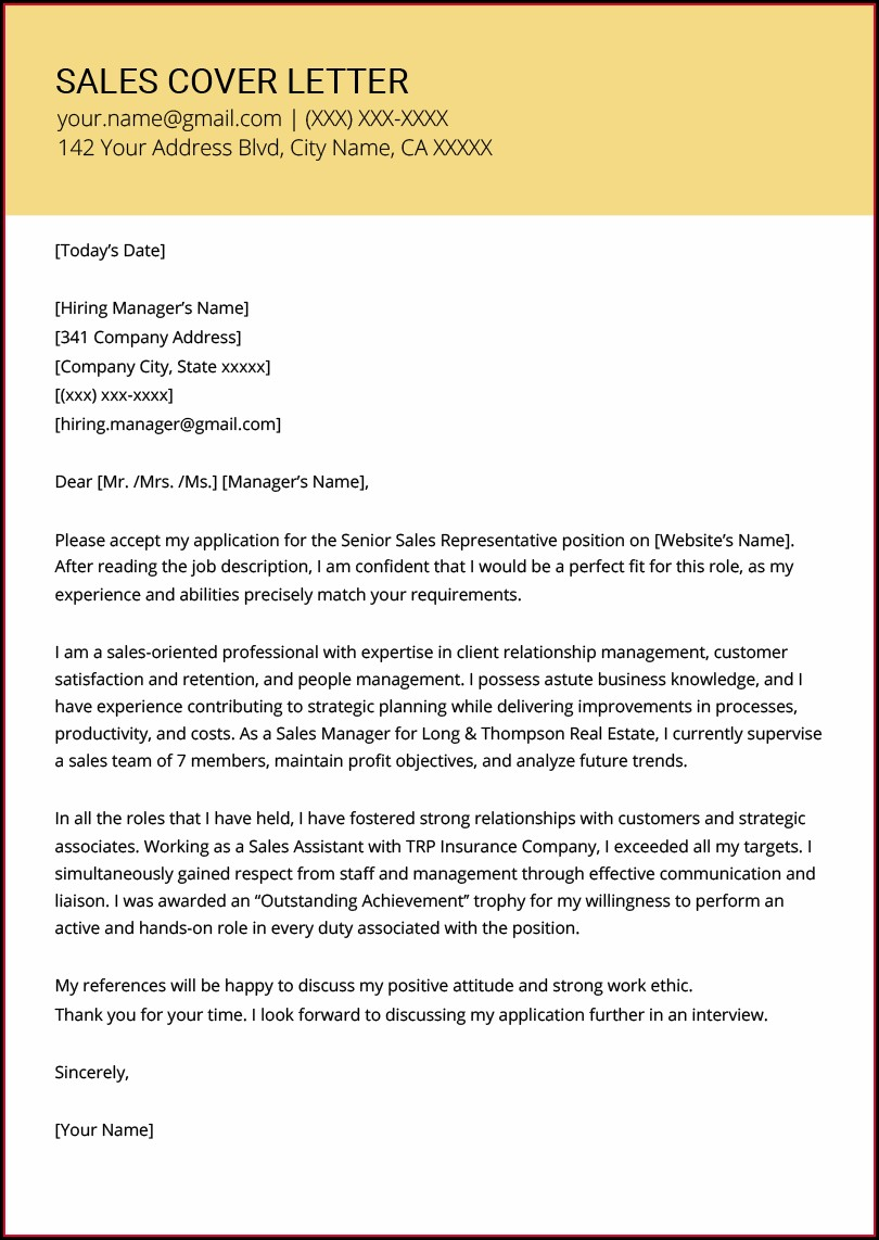 Samples Of Professional Cover Letters For Resumes