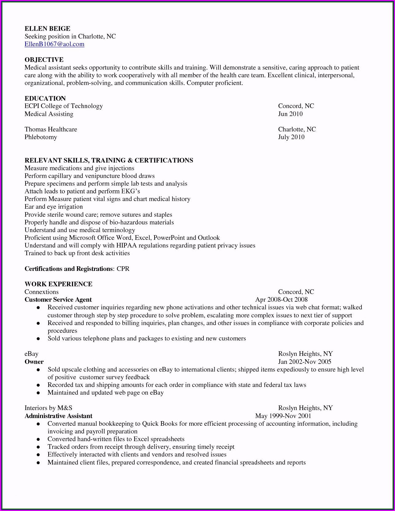 Samples Of Resume Objectives For Customer Service