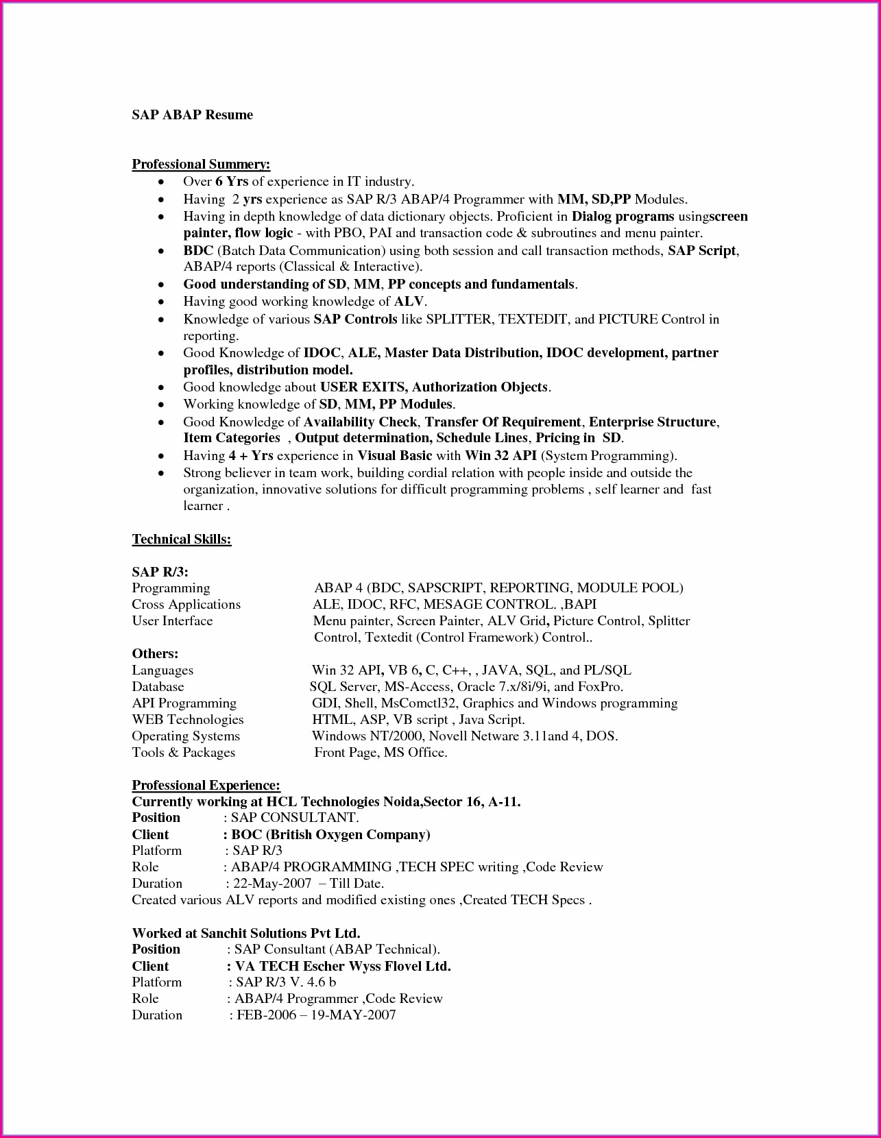 Sap Data Migration Sample Resume