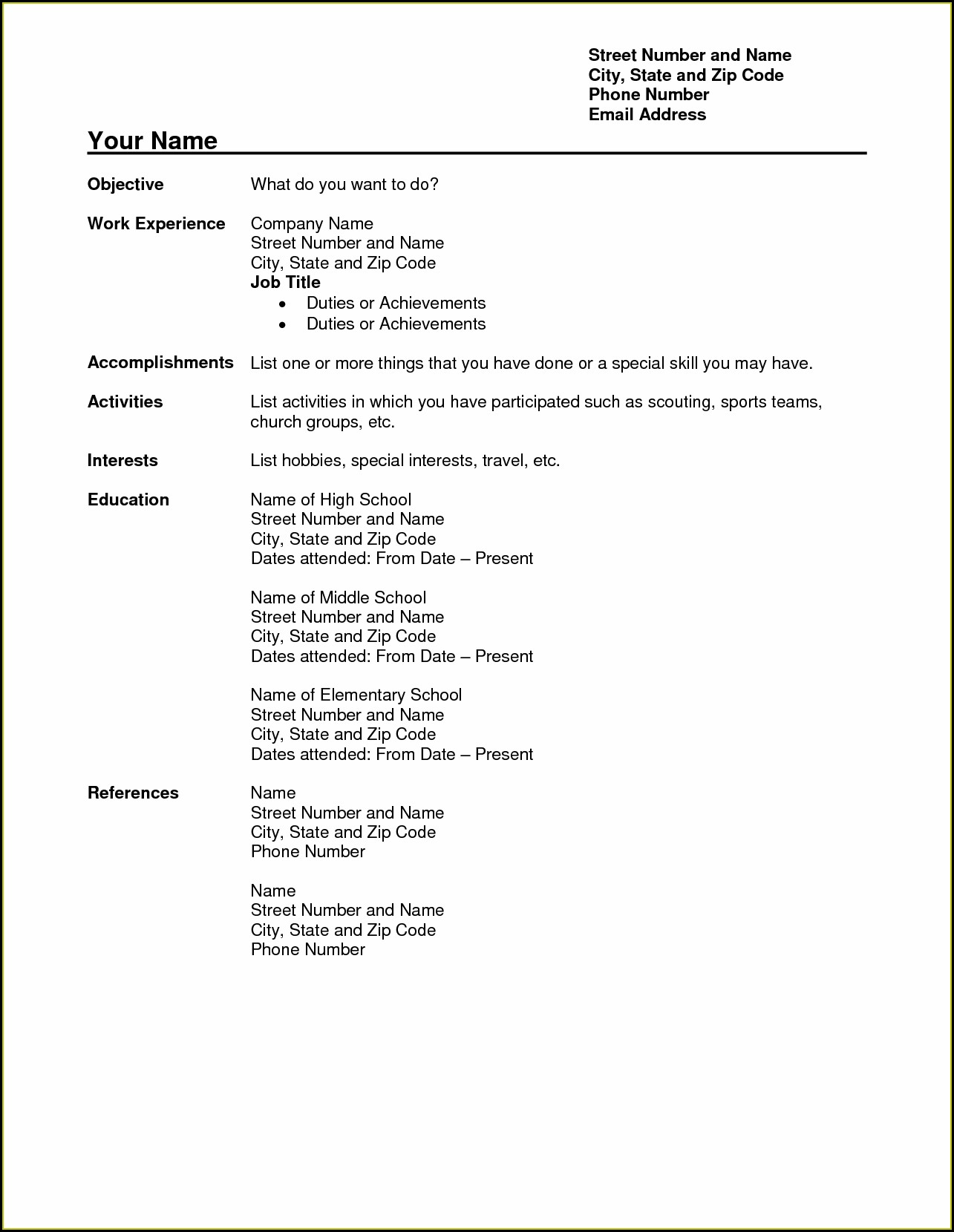 School Teacher Teacher Resume Format In Word Free Download