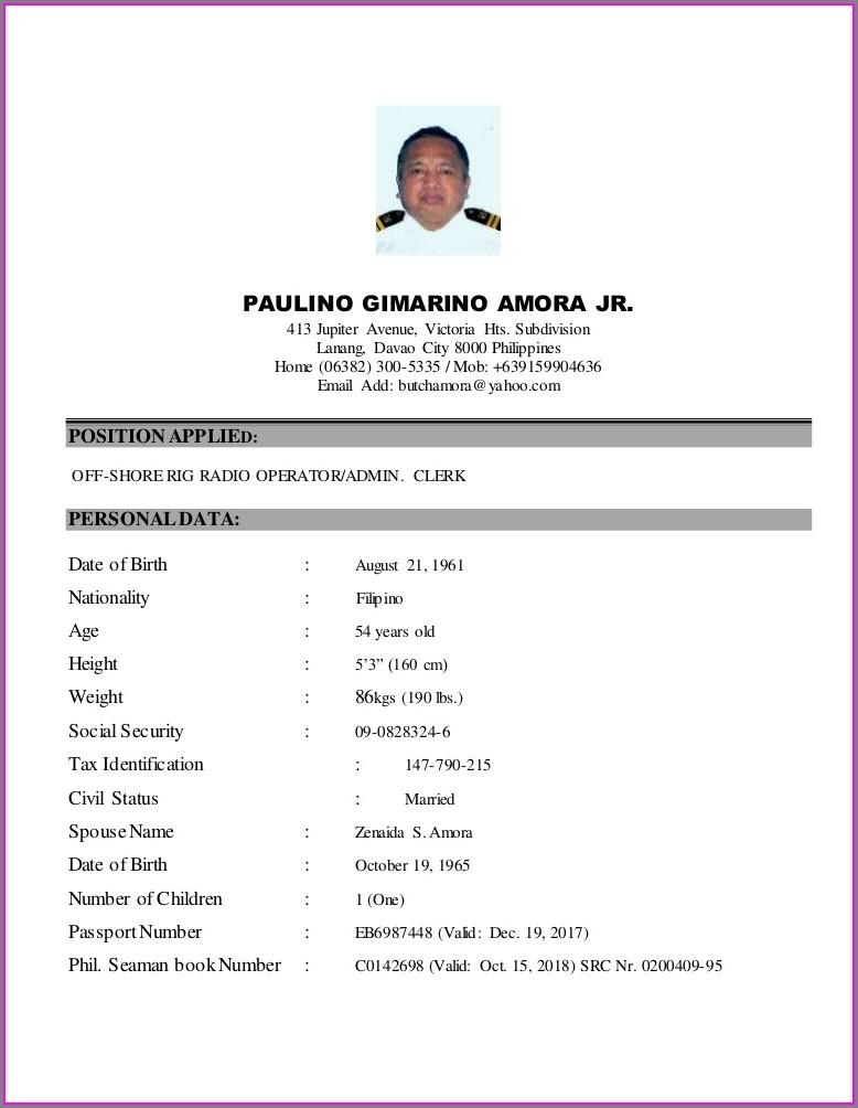Seafarer Resume Format Free Download