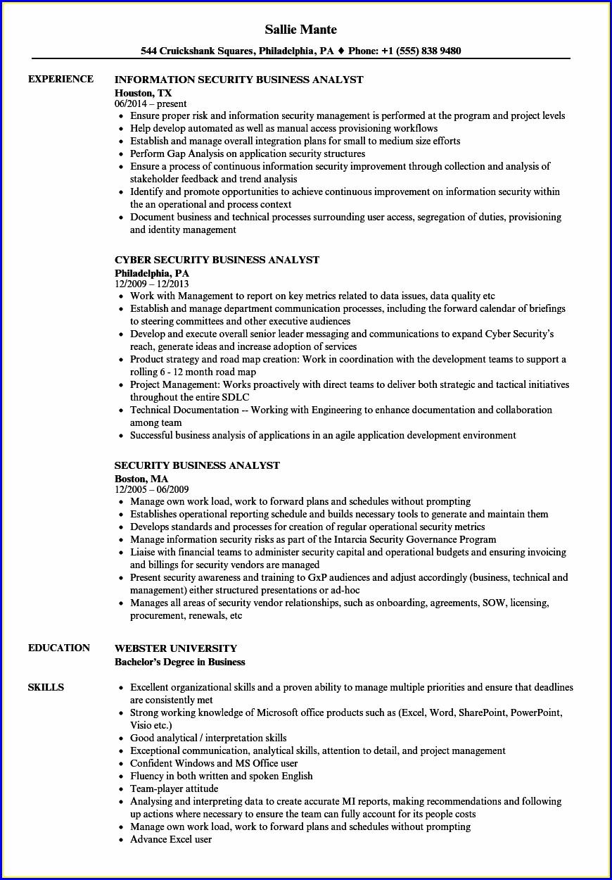 Security Analyst Cyber Security Resume Examples