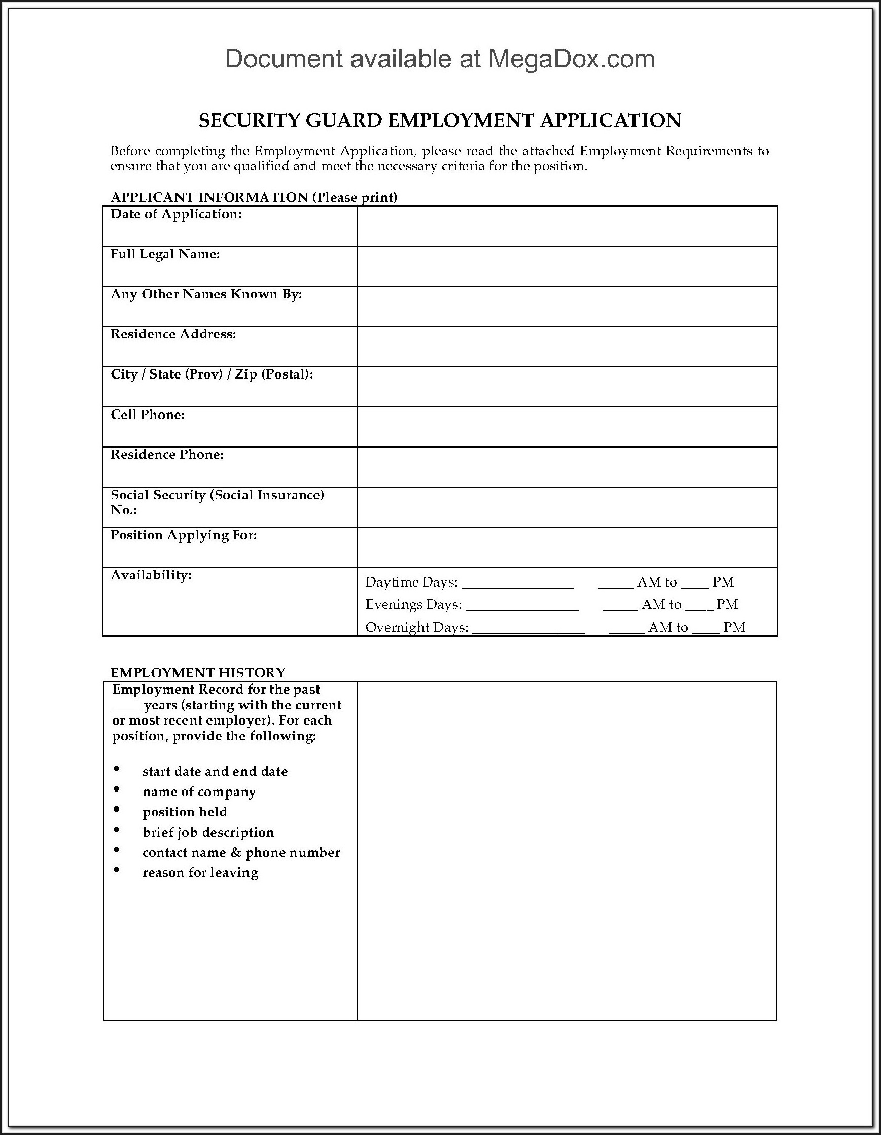 Security Guard Resume Format Pdf