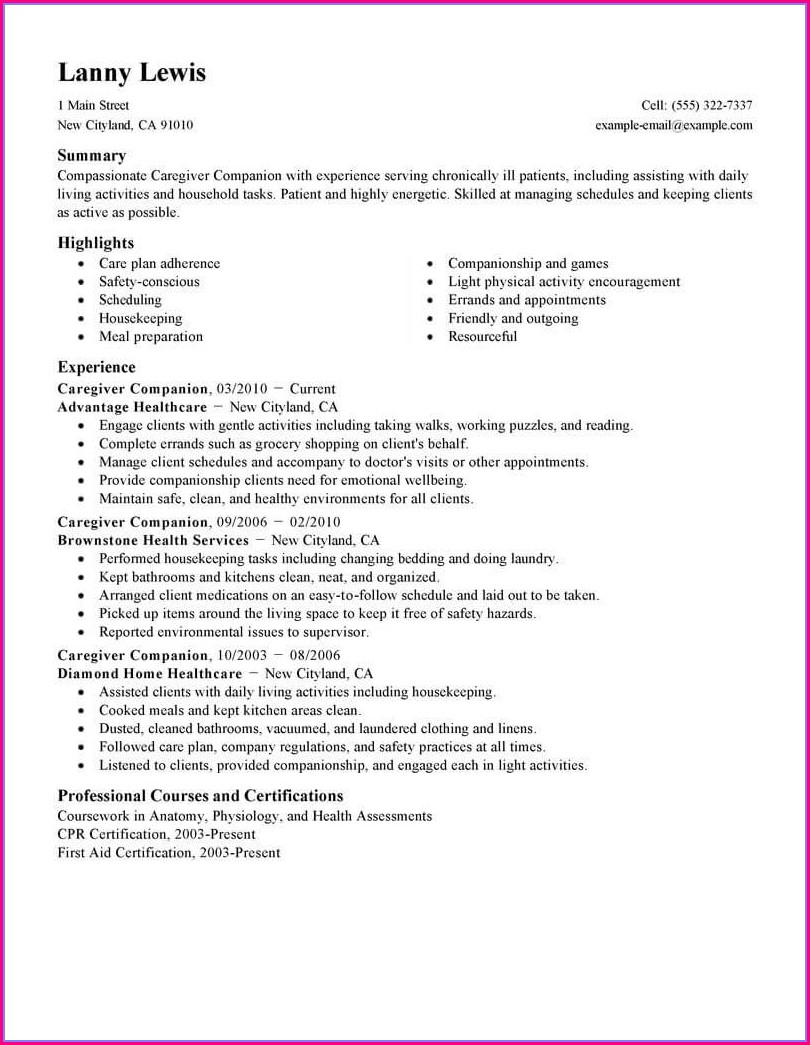Senior Caregiver Caregiver Resume Sample For Elderly