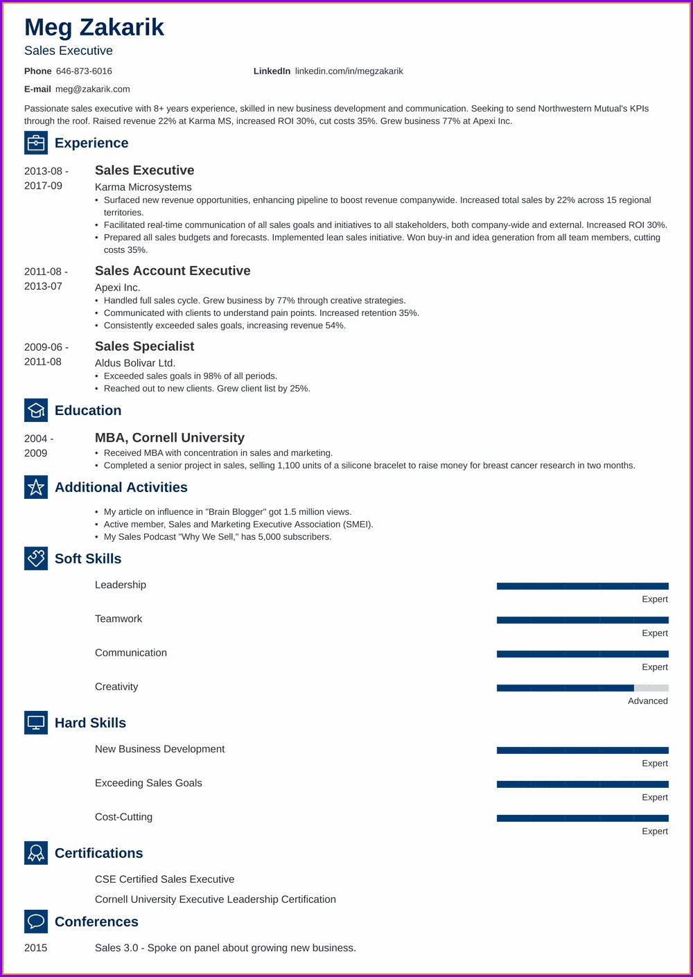 Senior Executive Resume Examples