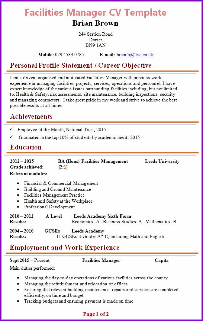 Senior Manager Cv Format