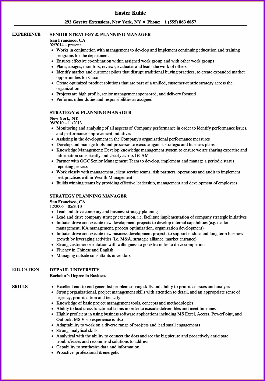 Senior Tax Manager Resume Example