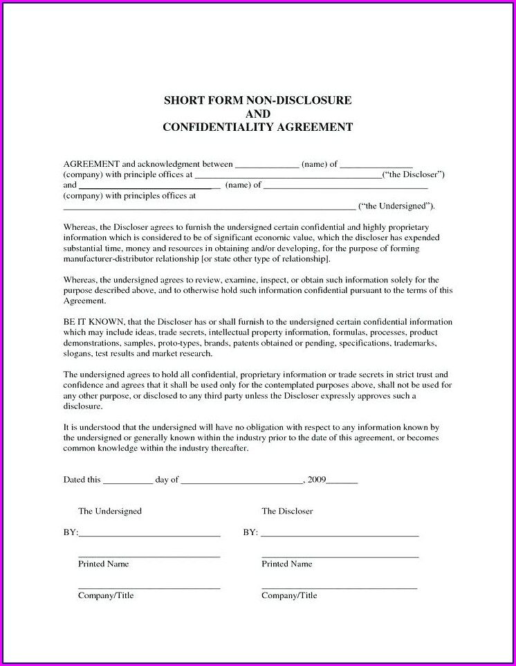 Short Non Disclosure Agreement Template