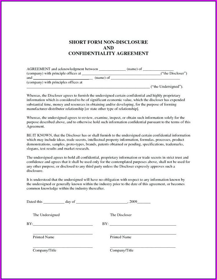 Short Non Disclosure Agreement Template