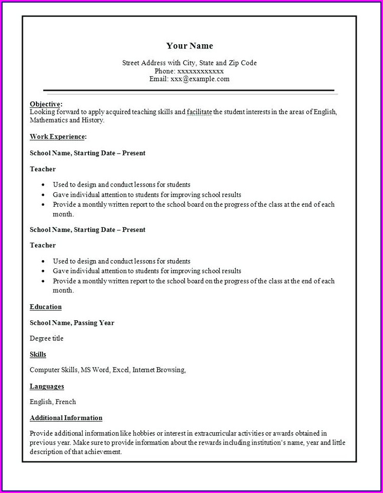 Simple Blank Resume Format Download