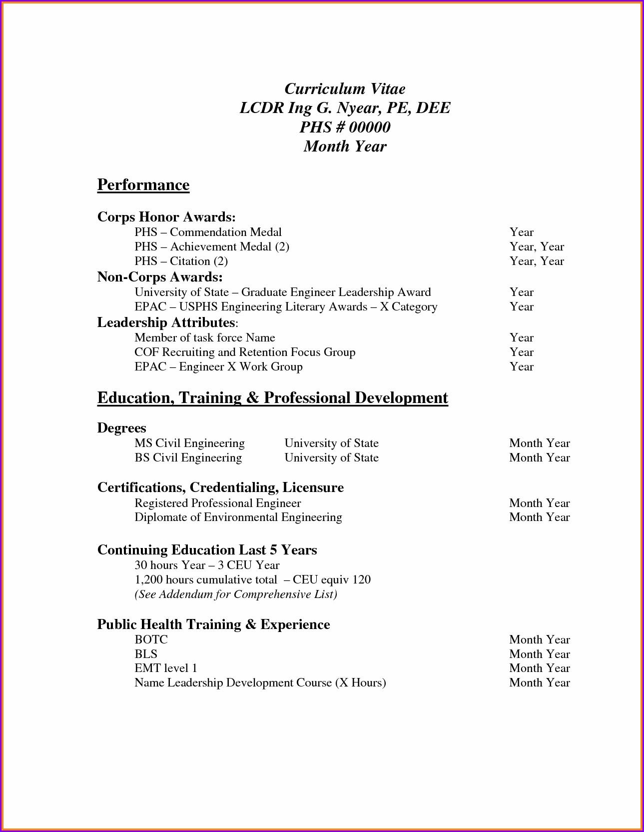 Simple Curriculum Vitae Format Pdf