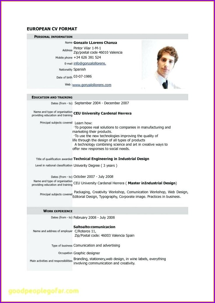 Simple Curriculum Vitae Template Pdf