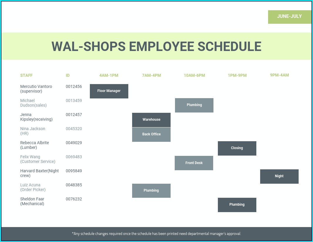Simple Employee Schedule Template