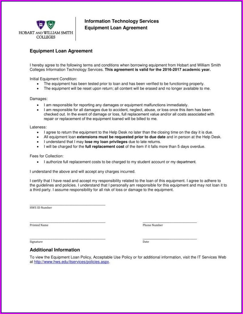 Simple Equipment Loan Agreement Template