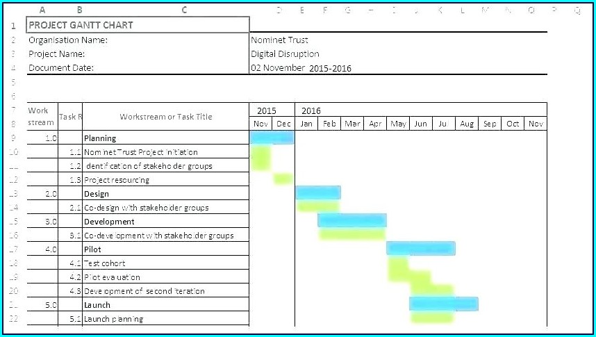 Simple Free Excel Gantt Chart Template